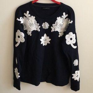 Victoria Beckham Target Navy Floral Appliqué Top